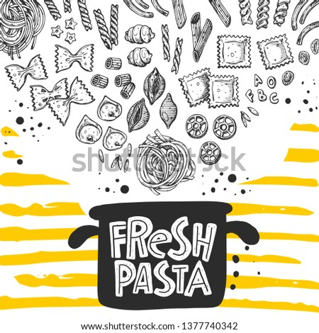 fresh pasta card design hand
