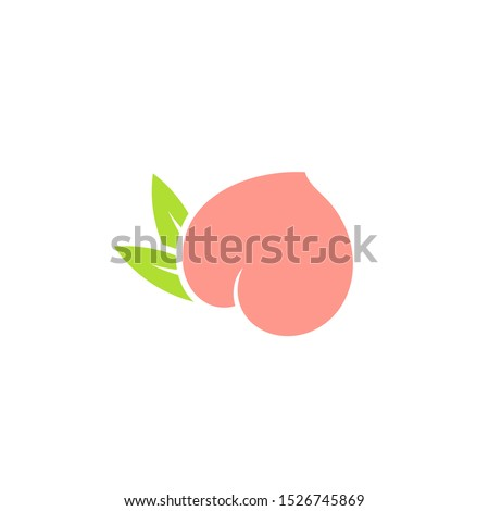 Fresh peach. Logo. Japan white peach with leaves on white background. Sweet fruit