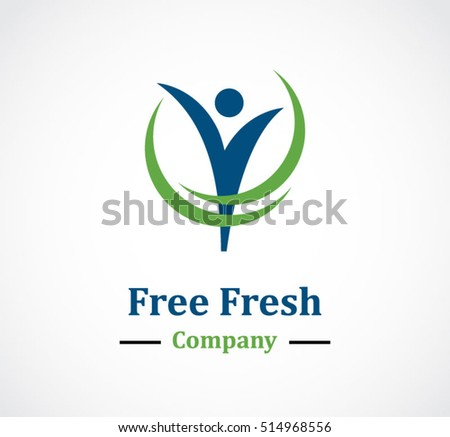 Fresh people fly abstract vector and logo design or template natural business icon of company identity symbol concept