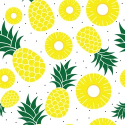 Fresh Pineapple seamless vector background.pineapple sliced pattern, Summer colorful tropical textile print.