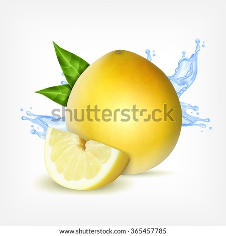 fresh pomelo with slice and