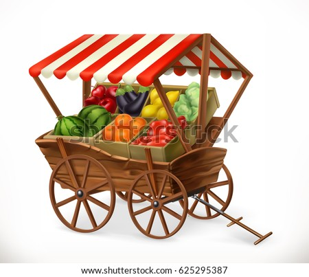 Fresh produce market. Cart with fruits and vegetables. 3d vector icon