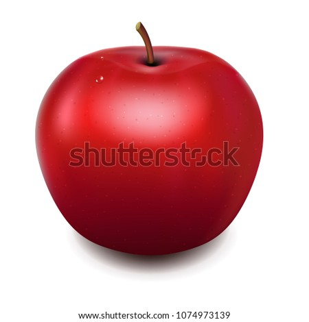 Fresh Red Apple With Gradient Mesh, Vector Illustration