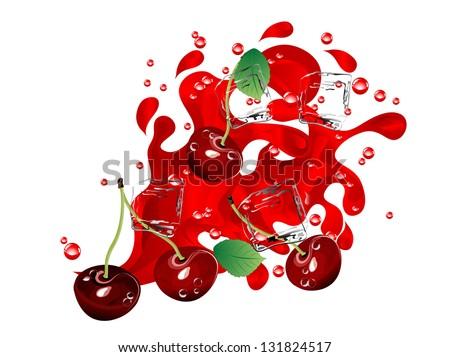 fresh red cherries in juice