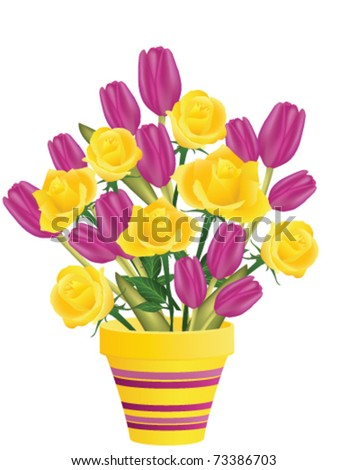 Fresh roses and tulips in flowerpot, vector