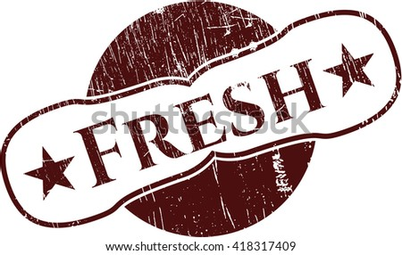 Fresh rubber stamp with grunge texture
