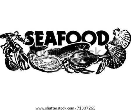 Fresh Seafood - Retro Ad Art Banner