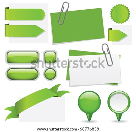 Fresh set of green website elements. Add your own text for a custom look.