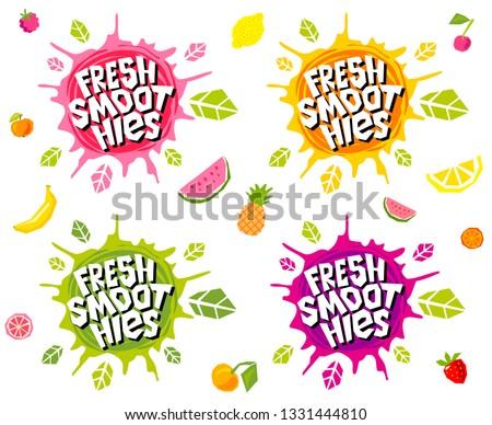 Fresh smoothies logo emblem bright splash shiny stickers, organic emblems banners labels , fruits vegetables fresh juice. Vegan eco bio green healthy food. Hand drawn vector illustration.