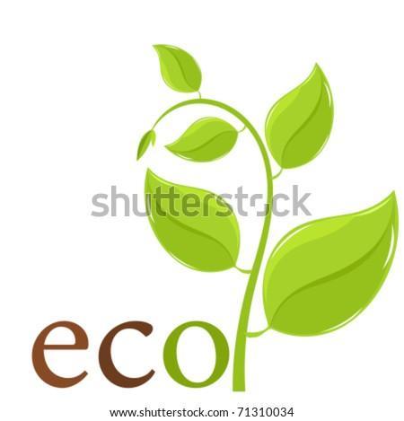 Fresh spring plant. Ecological logo or emblem - vector illustration