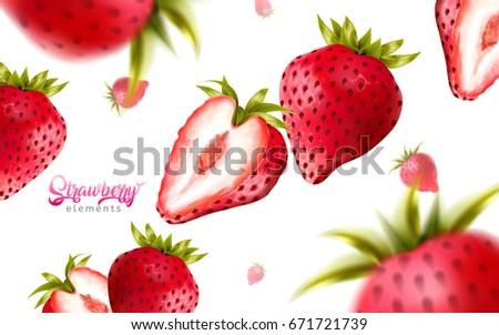 fresh strawberries falling down