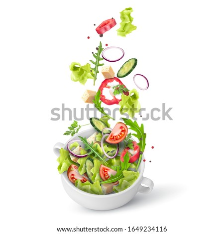 Fresh summer salad of greens and vegetables sprinkled in a deep plate. Flying salad recipe. Vector 3d realistic illustration isolated on white background.