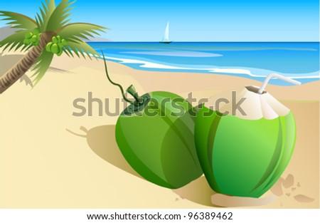 Fresh Tender Coconut on the beach.
