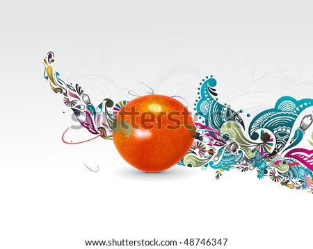 Fresh tomato woth floral wave line background, vector illustration