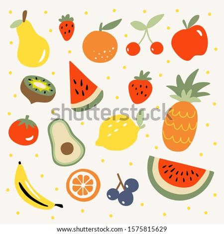 Fresh tropical fruit vector illustration with lemon, pineapple, watermelon, banana, apple, strawberry, cherry, grape, avacado, kiwi, tomato, orange and pear. Organic vegetarian food hand drawn doodle.