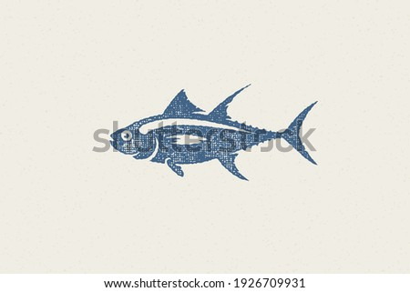 Fresh tuna fish silhouette for food market and seafood restaurant hand drawn stamp effect vector illustration. Vintage grunge texture emblem for package and menu design or label decoration.