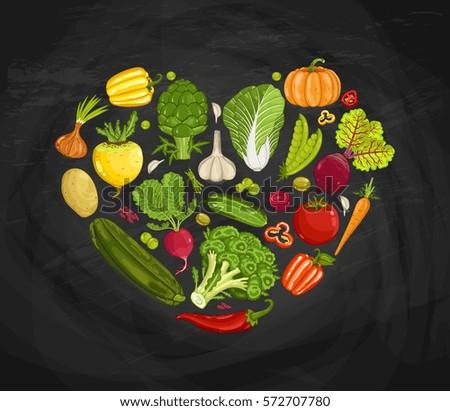Fresh vegetable heart shape composition vector illustration. Natural vegetable backdrop, vegetarian nutrition, organic farming, vegan diet. Onion, tomato, pepper, potato, radish, pumpkin on blackboard