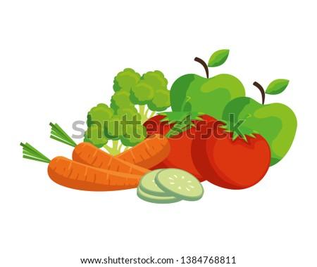 fresh vegetables and fruits salad #1384768811