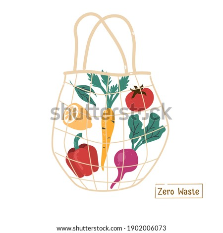 Fresh Vegetables in Eco Friendly Textile Shopper Bag. Sustainable Grocery  Shopping and Lifestyle. Zero Waste and Recycle Concept.  Flat Cartoon Vector Illustration.