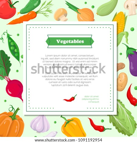 Fresh vegetables - modern colorful vector illustration with place for text in a square frame. A poster with a pumpkin, pepper, garlic, beet, peas, carrot, eggplant, onion. Healthy lifestyle concept