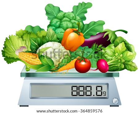 Fresh vegetables on the scales illustration