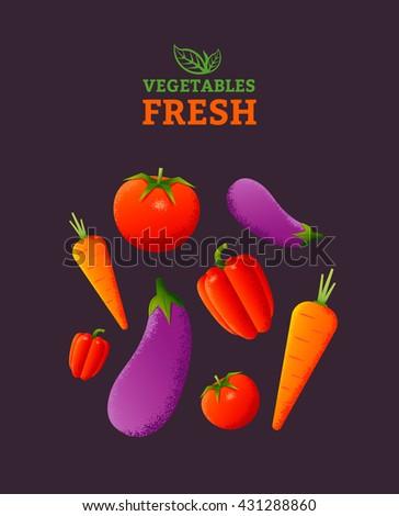 Fresh vegetables poster template. Vegetarian food. Vector illustration #431288860