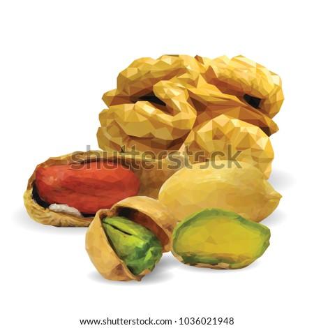 Fresh walnut, nutritious pistachios, tasty peanut. Nuts ingredients in triangulation technique. Vector illustration. Nuts ingredients in triangulation technique. Walnut, peanut and pistachios low poly