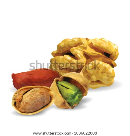 Fresh walnut, nutritious pistachios, tasty peanut. Nuts ingredients in triangulation technique. Vector illustration. Nuts ingredients in triangulation technique. Walnut, peanut and pistachios low poly