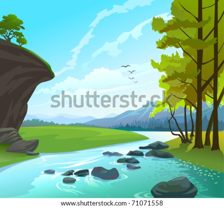 fresh water stream in hilly