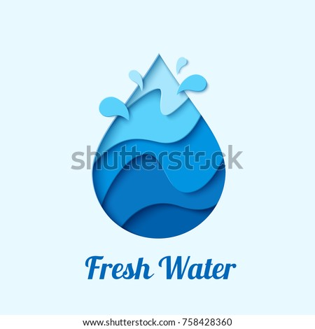 Fresh water - waterdrop logo design template. Vector abstract water drop paper cut style logotype.