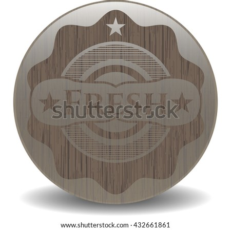 Fresh wooden emblem. Retro