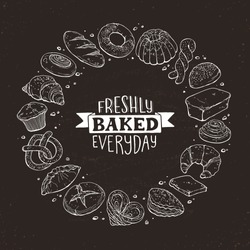 Freshly baked everyday lettering. Circle shape composition from hand drawn bread. Vector illustration for bakery shops isolated on  blackboard. Fresh bread poster concept.