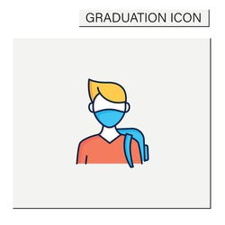 Freshman color icon. First-year student. Young man ready for studying. Professional development. Graduation concept.Isolated vector illustration