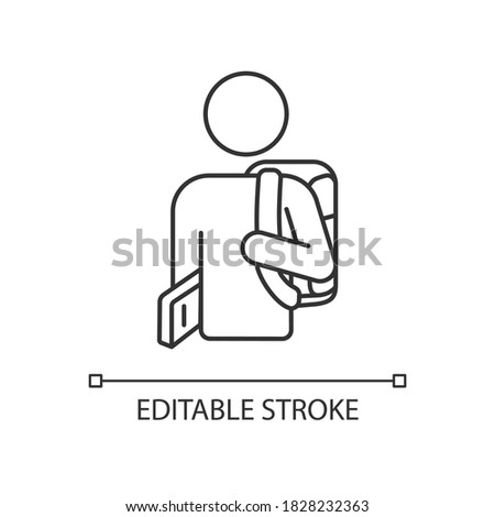 Freshman pixel perfect linear icon. Ninth grade student. High school pupil with rucksack. Thin line customizable illustration. Contour symbol. Vector isolated outline drawing. Editable stroke Foto stock ©