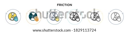 Friction icon in filled, thin line, outline and stroke style. Vector illustration of two colored and black friction vector icons designs can be used for mobile, ui, web