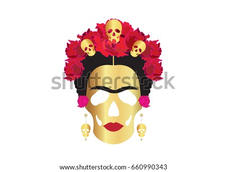 frida gold skulls  portrait of