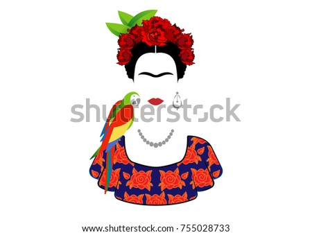 frida kahlo and parrot  vector