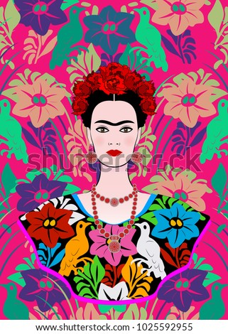 frida kahlo vector portrait
