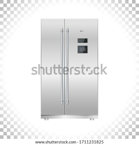 Fridge / Freezer refrigerator icon. Two doors. Silver double door fridge. Metal and black plastic materials. Digital display and keypad panel. Household tech and appliances. Vector illustration.