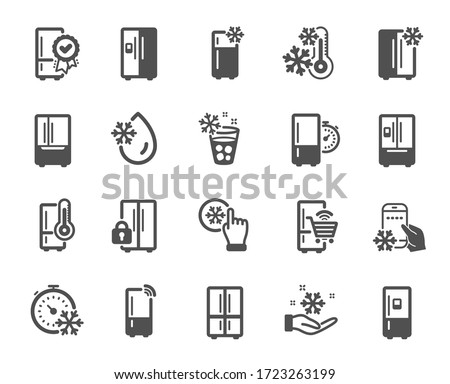 Fridge icons. Refrigerator, freezer storage, smart fridge machine. Water with ice, cooler box, thermometer icons. Wi-fi remote access, thermostat timer, smart freezer. Quality design element. Vector