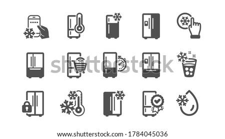 Fridge icons set. Freezer storage, refrigerator, smart fridge machine. Water with ice, cooler box, thermometer icons. Wi-fi remote access, thermostat timer, smart freezer. Quality set. Vector