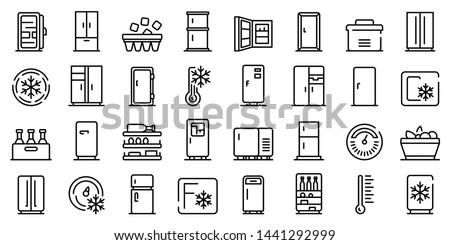 Fridge icons set. Outline set of fridge vector icons for web design isolated on white background