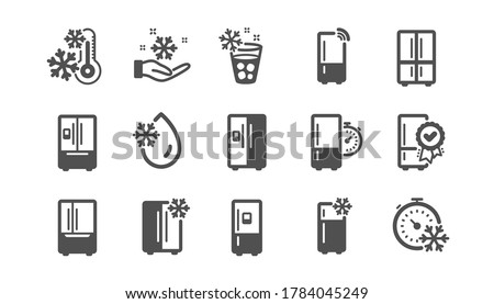 Fridge icons set. Refrigerator, smart fridge machine, freezer storage. Water with ice, cooler box, thermometer icons. Wi-fi remote access, thermostat timer, smart freezer. Quality set. Vector