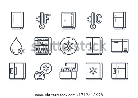 Fridge line icon set. Refrigerator outline vector icons. Freezer and Cold food storage icon collection.