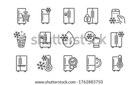 Fridge line icons set. Freezer storage, refrigerator, smart fridge machine. Water with ice, cooler box, thermometer icons. Wi-fi remote access, thermostat timer, smart freezer. Linear set. Vector