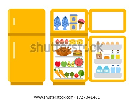 Fridge open and close concept vector illustration on white background. Refrigerator with food inside in flat design.