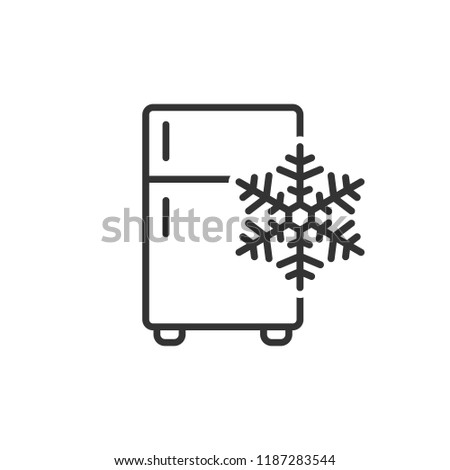 Fridge refrigerator icon in flat style. Freezer container vector illustration on white isolated background. Fridge business concept.