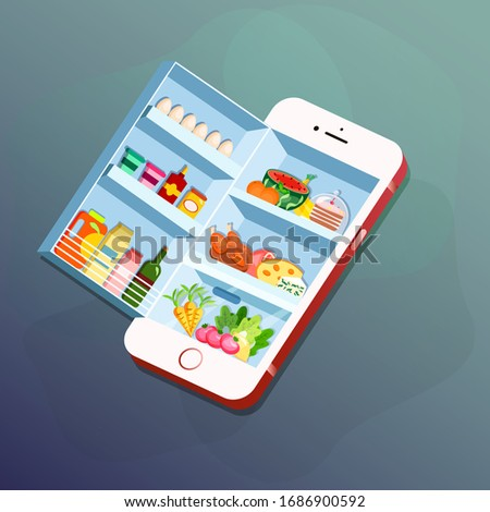 Fridge with food in a smartphone. Concept for grocery delivery, online ordering of food with smartphone or smart fridge application. Vector illustration