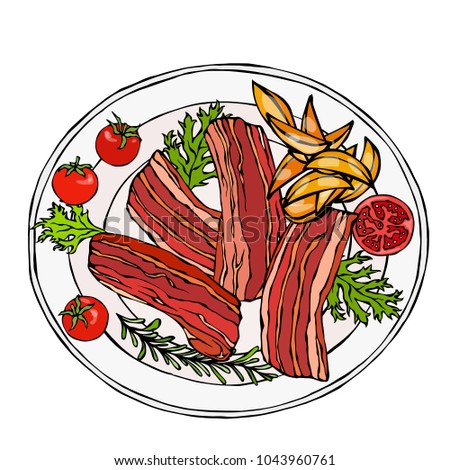 Fried Bacon Slices on a Plate with Potato Wedges, Tomatoes and Herbs. Roasted Pork Cut. Restaurant Menu. English Breakfast Ingredient. Hand Drawn Illustration. Savoyar Doodle Style. #1043960761
