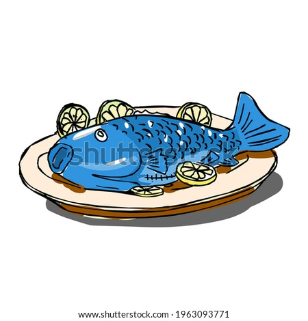 fried carp with lemon isolated